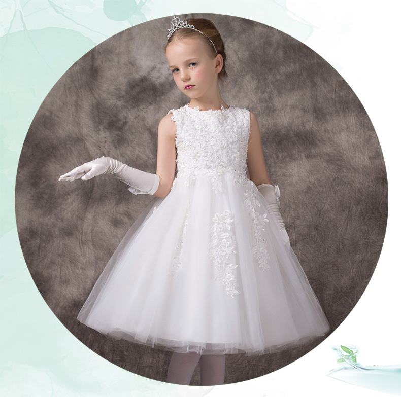 Pure   flower     girl     dress   for wedding party ever pretty   dress   lace foral decoration knee length white   dress   vestido cortos