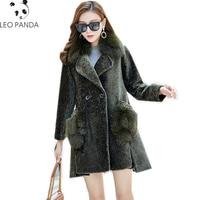 2019 New Sheep sheared coat femaleSheep sheared coat female long fox fur clong fox fur collar fox pocket lamb fur grass one coat