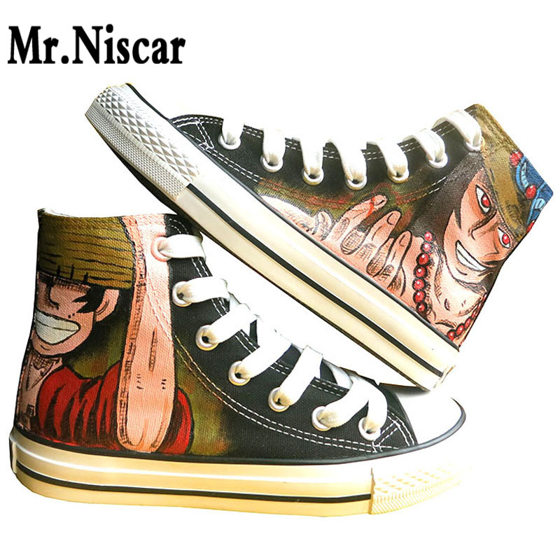 Unisex Black Luffy Ace Bro Breathable Shoe Lace Up One Piece Series Hand Painted Canvas Shoes