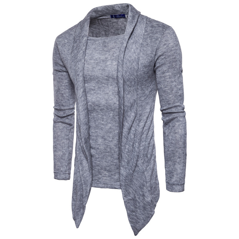 New Winter Sweater Men Solid Color Fake Two-piece Shawl Sweater New Men's Slim Sweater Long Sleeve O-neck Men Distressed Sweater