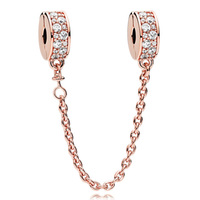 Neue 925 Sterling Silber Perle Charme Rose Gold Glänzende Eleganz Mit Kristall Sicherheitskette Bead Für Pandora Armband Diy Schmuck