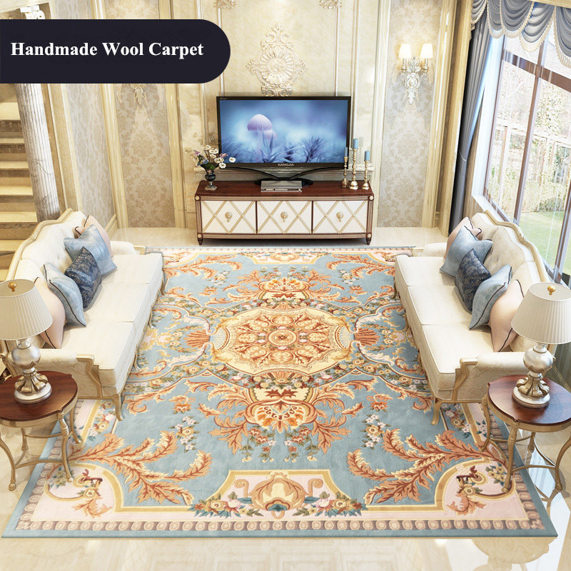 Imported Wool Carpet Living Room Hand Carved Carpet Bedroom Sofa Coffee Table Rug Study Room Thick Floor Mat Europe Palace Rugs