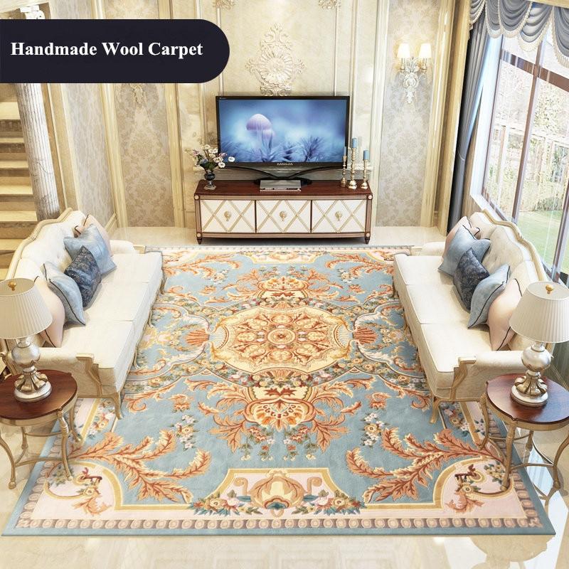 Tapis de laine importé salon sculpté à la main tapis chambre canapé Table basse tapis salle d'étude tapis de sol épais Europe palais tapis