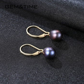 18K Gold Drop Earrings with Freshwater Pearls 5
