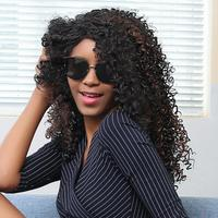 Hot Sale 1pc 18inch Black Shaggy Afro Curly Heat Resistant Synthetic Fashion Curly Wig Hair For Black Women JU14.drop shipping