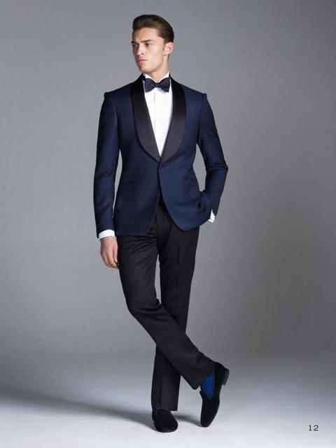 Custom Made Midnight Blue Smoking Groom Suits Wedding For Men Tuxedos 3