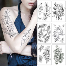 Waterproof Temporary Tattoo Sticker Beautiful Lily Flower Fake Tatto Flash Tatoo Hand Arm Foot Shoulder Tato for Girl Women(China)