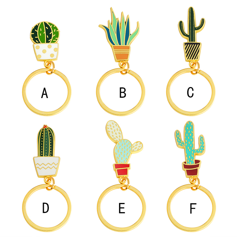 Fashion Succulent Potted plants Cactus Keychain Cute Metal Gold Key chain Keyring For Women Men Friends Jewelry Accessories Gift