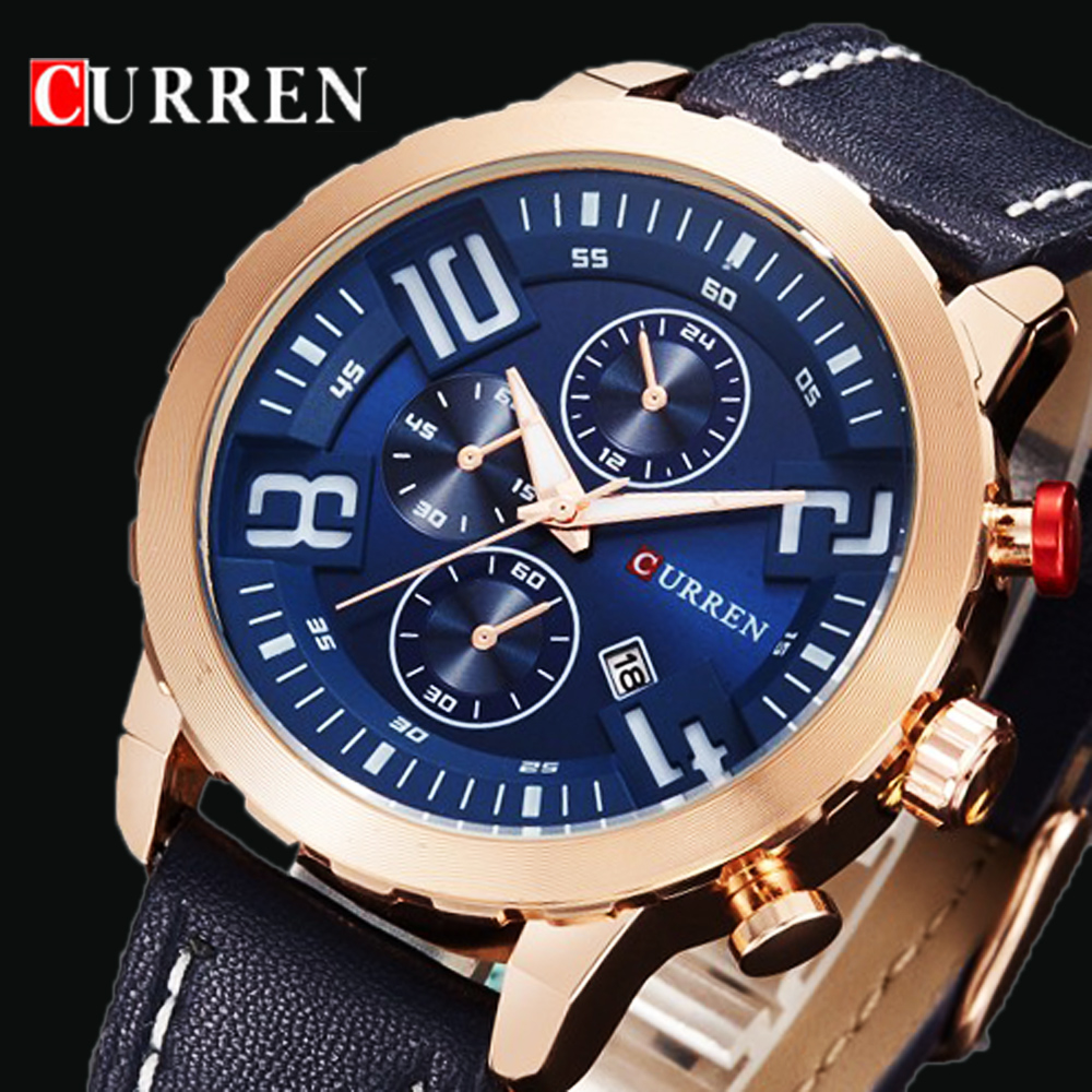 100% QualitäT Curren Luxusmarke Sport Quarz Gold Uhren Männer Leder Uhr Frauen Armbanduhr Männer Armbanduhren Relogio Masculino Montre Homme