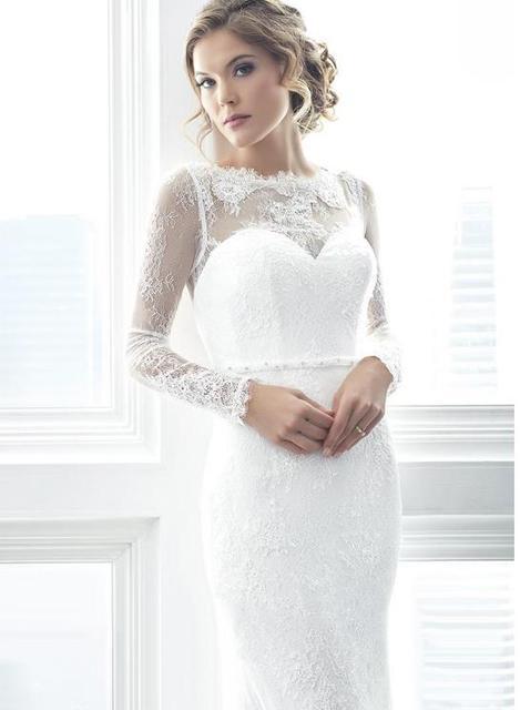 LORIE White Mermaid Wedding Dresses 2019 vintage Lace Appliques Bride Dress Long Sleeve robe de mariee Illusion Wedding Gowns 2