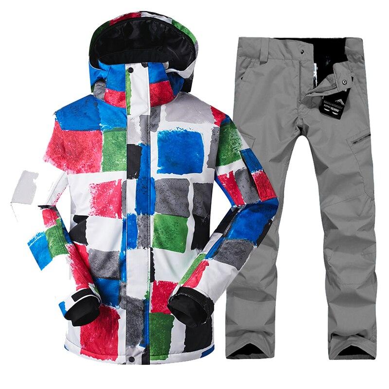 Gsou Neige 2017 Nouvelle Scission Corps Ski Costume, hommes de Chaud, Épaississement, Veste de Snowboard Hommes Veste de Ski + Pantalon de Ski Hommes de Fret Libre