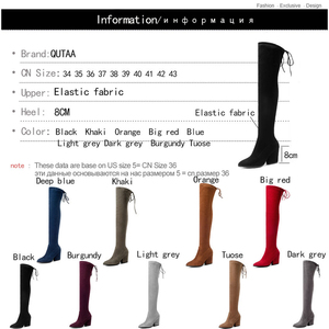 Image 5 - QUTAA 2020 Women Shoes Over The Knee High Boots Pointed Toe Autumn Winter Shoes Women Hoof Heels Flock Women Boots Size 34 43