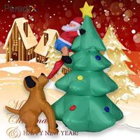 1.8m Giant inflatable Christmas tree Puppy bites Santa Claus climbing tree Blow Up Fun Toys Christmas Gift Halloween Party Prop