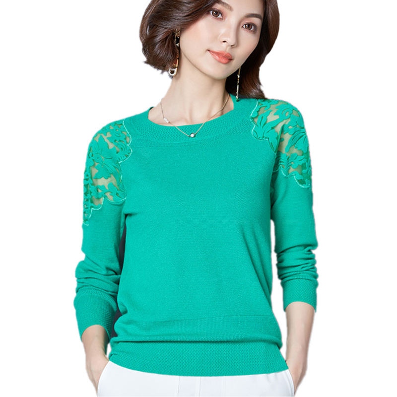Korean Fashion Sexy Hollow Out Lace Shoulder Large Size Christmas Sweater Knitted Sweater Women Sweaters And Pullover 2017 M-XXL ...