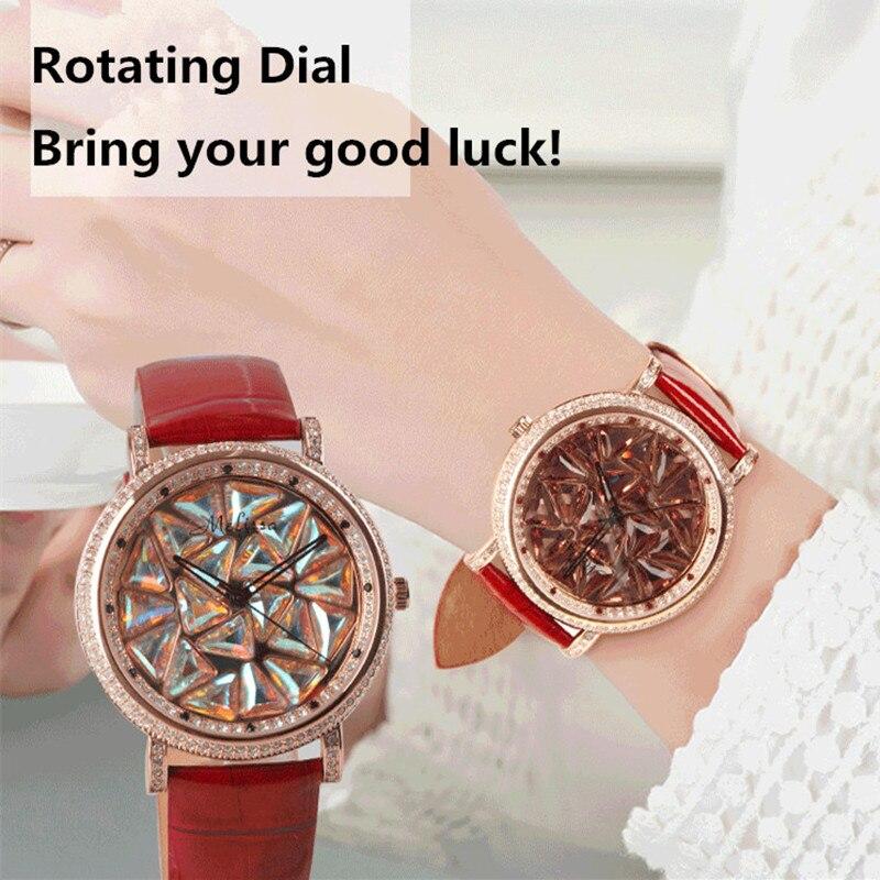 Melissa GOOD LUCK Women Spinning Watches Novel Rotating Full Crystal Watch Triangle Rhinestone Wrist watch Gemstone Montre Reloj đồng hồ binger bg54