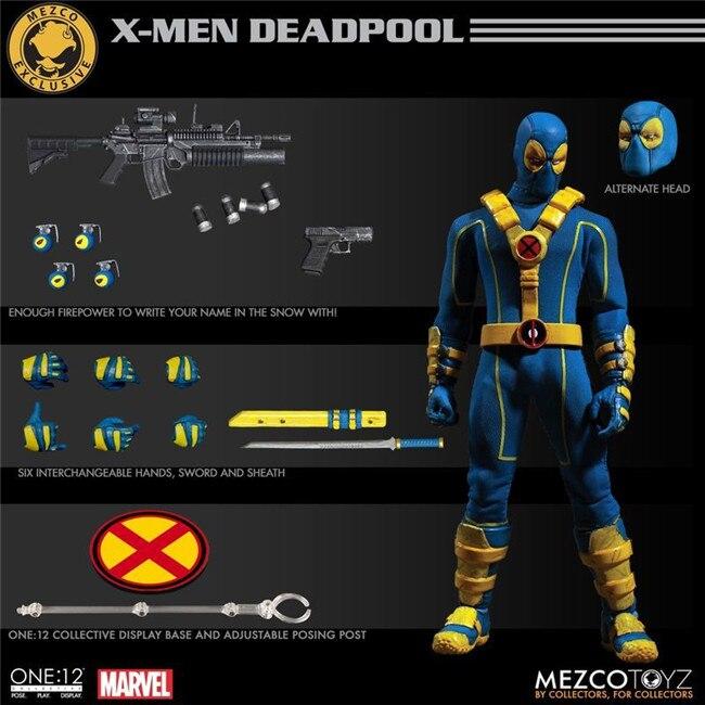 16cm Marvel Mezco Toys Super Hero Deadpool X-Men Red Blue Version One 12  Action Figure   (10)