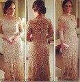 2016 Colher Apliques Champagne Tulle A Linha Luva Dos Três Quartos Vestido de Noite Mãe de Prata dos Vestidos de Noiva Vestido de Noite