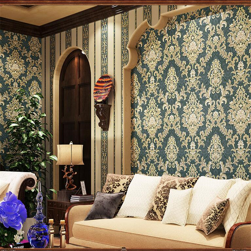 ФОТО  beibehang American Retro Damascus Premium Wallpaper AB Vertical Streak Wallpaper Full Shop Living Room Hotel Dining Room