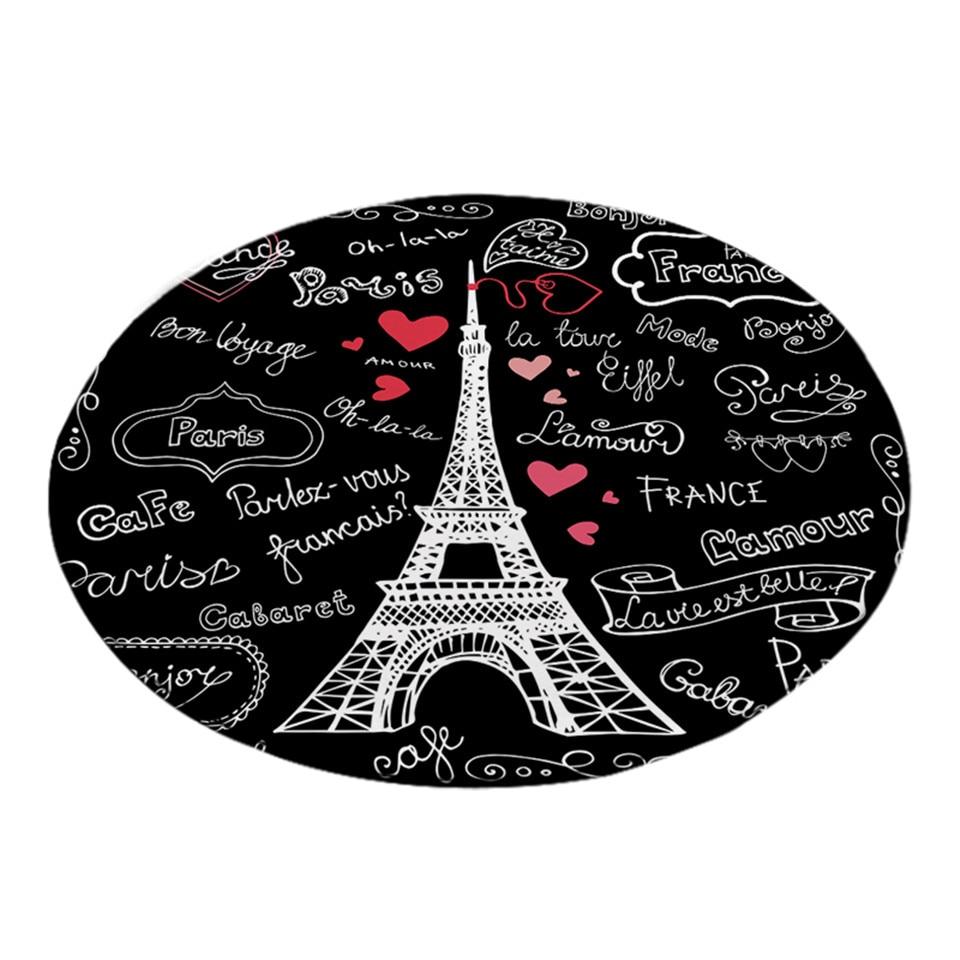 France Paris Tower Round Carpets Letters Print Living Room Area Rug Black /&White