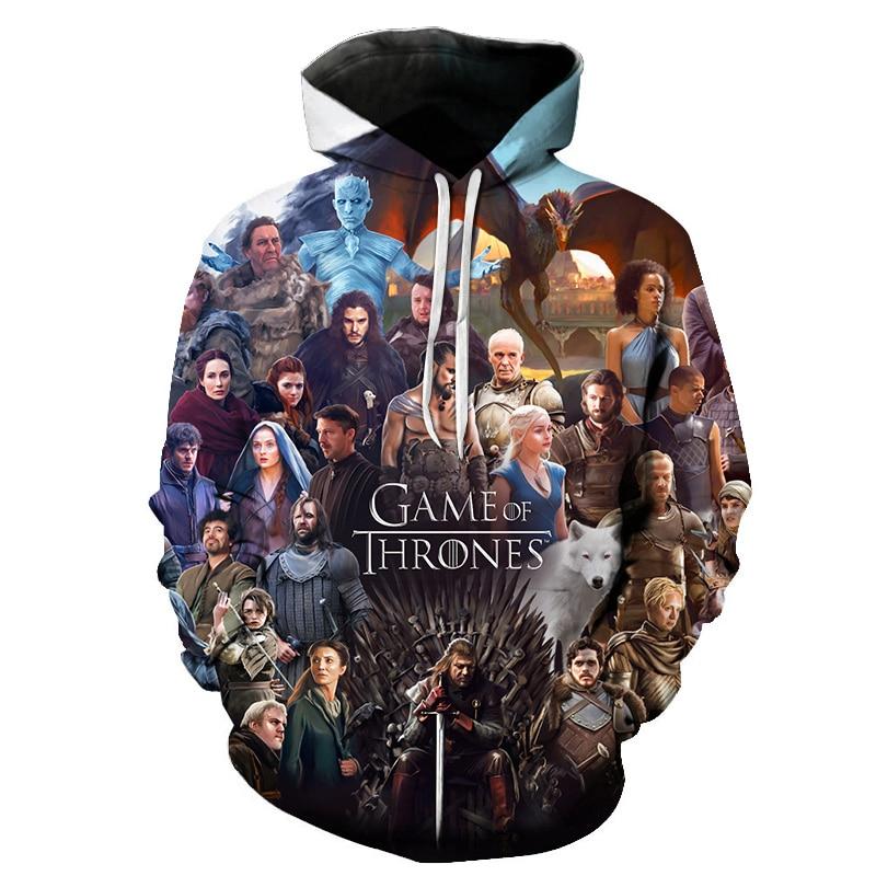 2019 New Movie Game Of Thrones Hoodie Men Women All Characters Cosplay 3d Sweatshirts Hoodies Casual Men Streetwear Pullover 6XL