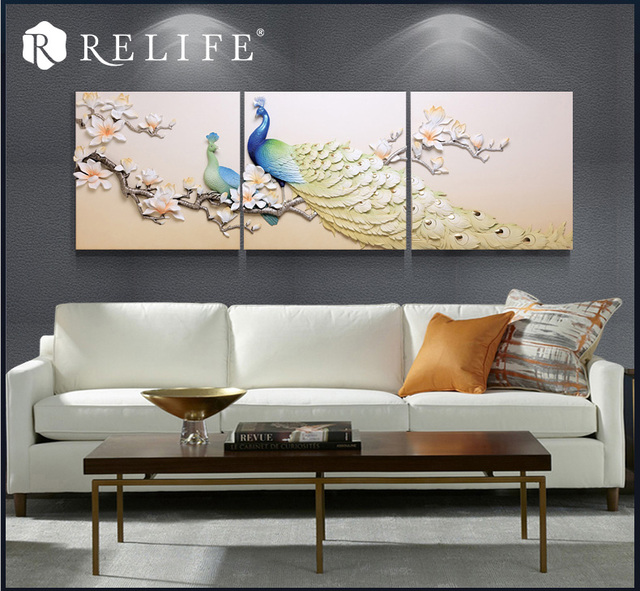 Handpainted Resin Peacock Wall Art For Living Room Home Decor Combined  Pictures 3pcs 70x70cm