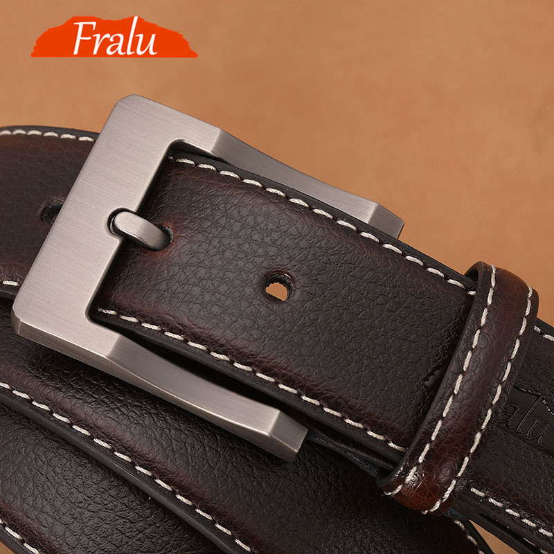 FRALU Genuine Leather For Men High Quality Black Buckle Jeans Belt Cowskin Casual Belts Business Belt Cowboy Waistband