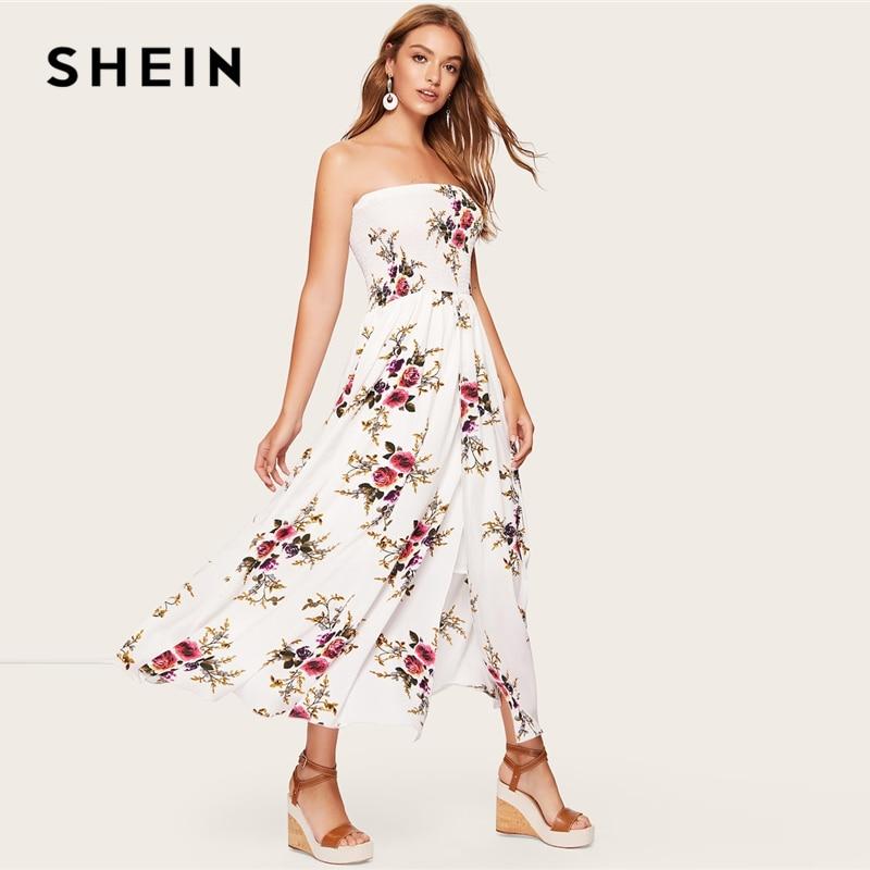 SHEIN Boho/белая рубашка с корсетом и цветочным рисунком; платье-труба; уличная одежда с высокой талией; трапециевидная посадка и расклешенное п...