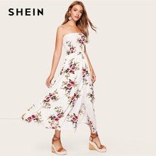 c6144d51b8 SHEIN Boho White Shirred Bodice Wrap Floral Tube Dress Streetwear High  Waist A Line Fit And Flare Sleeveless 2019 Spring Dresses