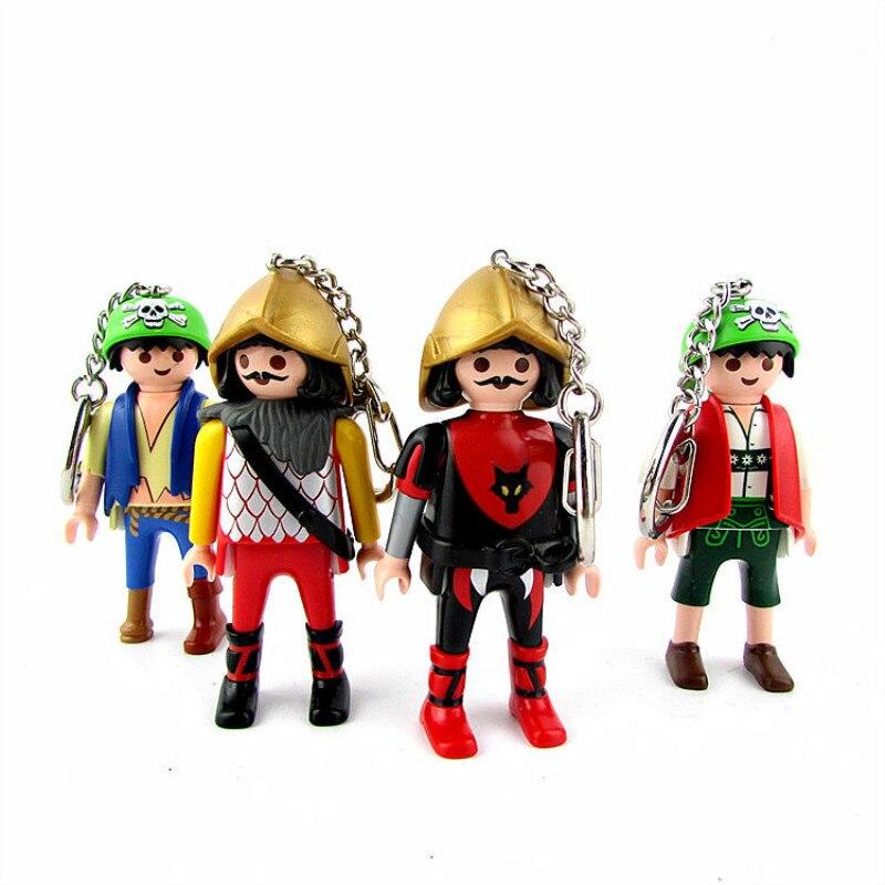 Экшн-фигурка Playmobil, 1 шт., брелок для кукол, новая игрушечная мобильная модель, статуя кольцо для ключей с игрушкой Playmobil, оригинальные игрушки...