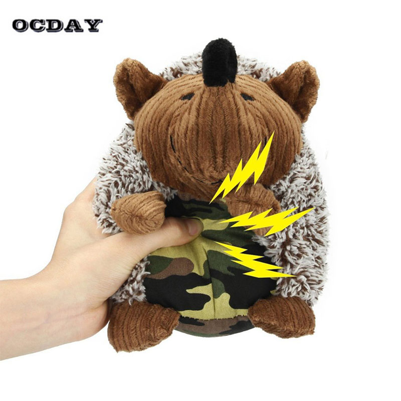 OCDAY Cute Squeak Sound Plush Toy Funny Hedgehog-shaped For Kids and Dog Pet Training Interactive Toys Surprise Christmas Gift