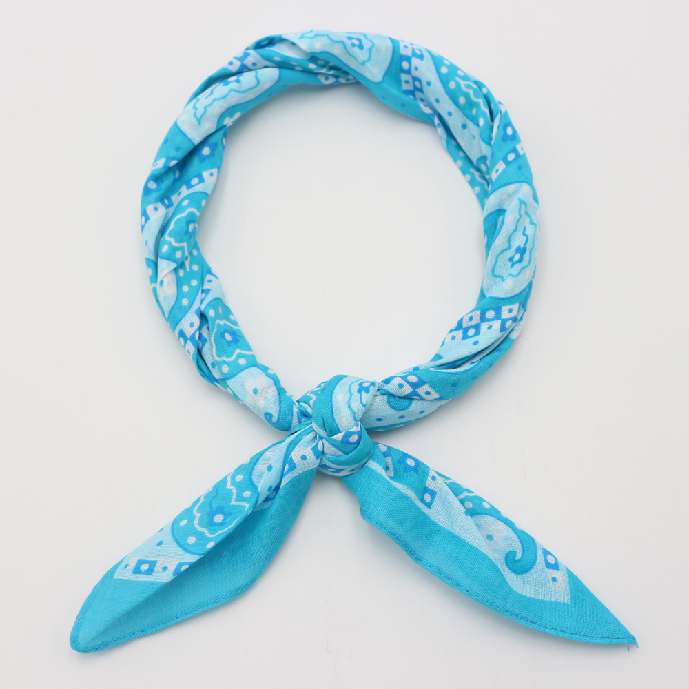 Teal Color Paisley Cotton Bandanas Square Ladies Headband Headscarf Neckerchief Headwear Handkerchief