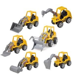 Image 1 - 1PC Carino Mini Auto Giocattoli Diecast Veicolo Costruzione Bulldozer Escavatore Ingegneria Del Veicolo Kit Per Bambini Mini Auto Ingegneria