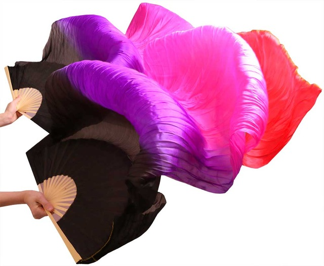 New Arrivals Women Silk Belly Dance Fan Veils Of Belly Dance Fans On Sale Black+purple+pink+rose Red