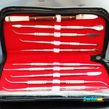 Free shipping Dental Lab Stainless Steel Kit Wax Carving Tool Set Surgical Dental Instruments 10pcs dental wax carving tools set with kit carver mixing spatula knife dental lab equipment stainless steel double ends
