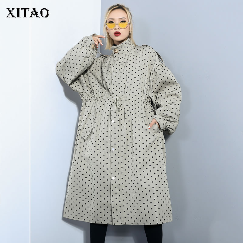 [XITAO] Women 2019 Spring New Fashion Turn-down Collar Full Sleeve Loose Top Female Polka Dot Long Casual   Trench   Coat LYH3270