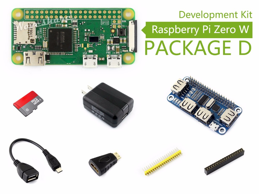 Raspberry Pi Zero W Package D Basic Development Kit Micro SD Card, Power Adapter, USB HUB, and Basic Components raspberry pi zero w basic starter kit raspberry pi zero 16g sd card power adapter acrylic case hdmi cable