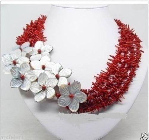 Vente chaude nouveau Style > > > > > naturelle Beauteous corail rouge shell collier de fleurs