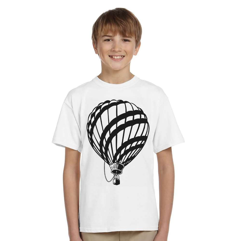 Summer Sketch black and white Hot air Balloon printed child t shirt new cotton short sleeve active boys t-shirt fashion clothes