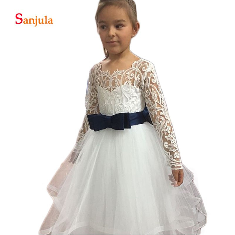 Puffy A-Line Little Princess   Girls   Wedding Party   Dress   Tiered Skirt White   Flower     Girls     Dresses   2019 vestidos floreados D366