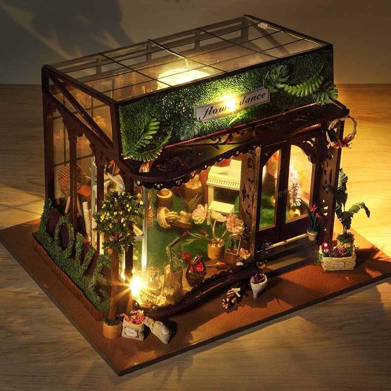 T-Ю td19 танец цветов Дом DIY кукольный домик с крышкой свет Best креативный подарок Коллекция декор