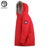 Asesmay брендовая одежда 2018 Для мужчин зимняя куртка Для мужчин ватник натуральный меховой воротник толстые теплые подтяжки внутри мужские зи