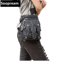 Steampunk Holster Protected Purse Shoulder Backpack Purse leather Men's bag fashion waist bag Motor leg Outlaw belt bags Pack
