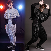 S 6XL!!! 2018 Club bar male singer drum jazz dance costume personality sequins wear the rain god haroon pants