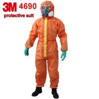 3 м 4690 защитный костюм Защита от ядерного излучения химической изоляции костюмы оранжевый EN стандартный Рабочая одежда