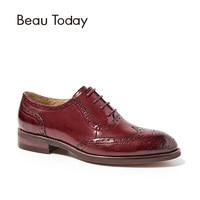 BeauToday/женские оксфорды из натуральной телячьей кожи на плоской подошве со шнуровкой и острым носком, женская обувь с перфорацией типа «брог