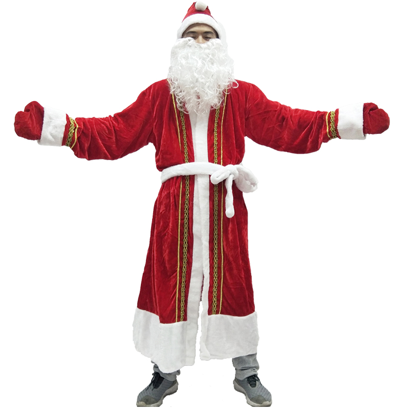 2017 New Arrival Men Christmas Santa Claus Costume 5 Pcs Christmas Red Cosplay Dress Xmas Costume For Adult Women Boy