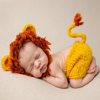 The New 2017 Baby Photography Clothing Wool Knitting Dress Animal Model Little Lion Baby Hat Set