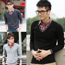 2015 Limited Pull Cardigan Sueter Autumn And Winter Yishion Men's Clothing Sweater Slim Shirt Collar Faux Two Piece Male Knitted
