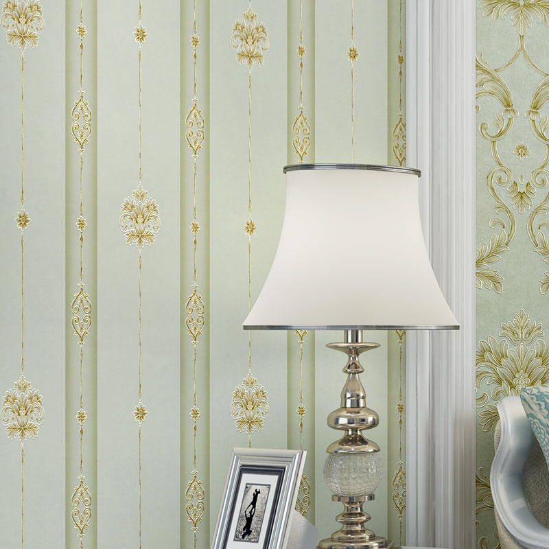 Behang Simple European Foaming Non-woven Wallpaper Roll Vintage Green Vertical Stripe Wall Paper for Sofa TV Background Walls
