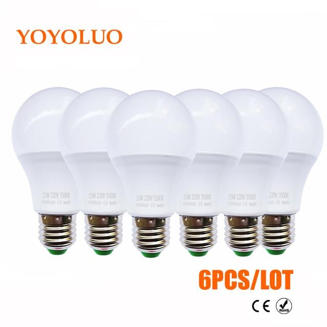 6PCS/Lot LED Lamp E27 110V 220V LED Bulb led Light bulb Real power 3W 5W 7W 9W 12W 15W Cold Warm White Lampada Led Bombillas